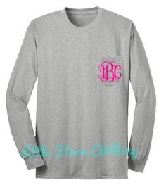LONG SLEEVE Monogrammed Pocket Tee by littlestarsclothing on Etsy, $21.95