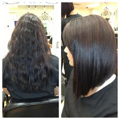 Angled bob before and after