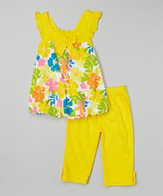 Yellow Floral Bubble Top & Capri Pants - Infant, Toddler & Girls by G&J Relations #zulily #zulilyfinds