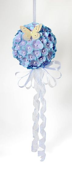 Hydrangea ball made with flower petals cut with Pazzles. Great wedding decoration.
