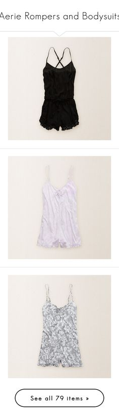 """""""Aerie Rompers and Bodysuits"""" by madteddy ❤ liked on Polyvore featuring jumpsuits, rompers, true black, black romper, playsuit romper, black rompers, lavender dawn, silver, american eagle and white"""