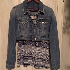 American Republic Denim Jacket Sweet Boho distressed short American Republic Short Jean Jacket. Great condition, pairs well with something totally Boho or dressy! American Republic  Jackets & Coats Jean Jackets