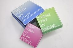 """How cool are these storage boxes! keeping your organized mess """"organized"""""""