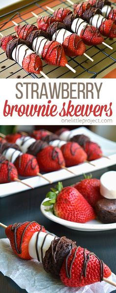 trifle dessert recipe, individual dessert recipes, gestational diabetes dessert recipes - These strawberry brownie skewers are a GREAT single serving dessert! Make them for a summer barbecue or picnic, or even just as an easy weeknight dessert! Single Serve Desserts, Desserts For A Crowd, Party Desserts, Appetizers For Party, Valentine Desserts, Dessert Recipes, Dessert Ideas, Mini Desserts, Finger Desserts