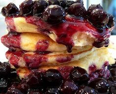 Lemon Ricotta Pancakes with Blueberry Sauce | Noble Pig