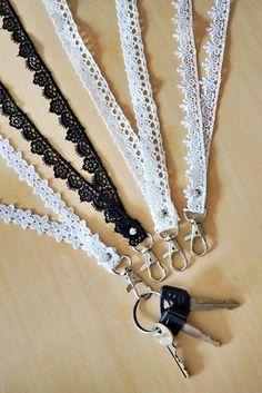 Cute lanyard, lace keyfob, neck lanyard, white lace lanyard, white id lanyard, id badge holder, id card holder, kawaii lanyard