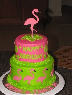 Flamingo Birthday cake cricut cake-I need to make this for my mother in law Pink Flamingo Party, Flamingo Cake, Flamingo Birthday, Pink Flamingos, Pink Parties, Birthday Parties, Cake Birthday, Luau Birthday, Birthday Ideas