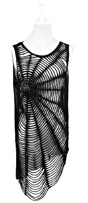Blooms Punk Women Spiderweb Hole Sleeveless T-Shirt Vest Top