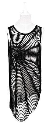 Blooms Punk Women Spiderweb Hole Sleeveless T-Shirt Vest Top