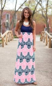 Front view tank maxi dress navy & pink damask print