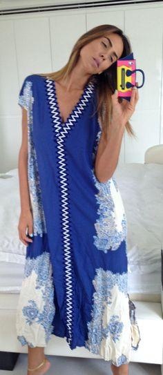 Blue Dress Women Dress Kaftan Caftan Dress Bandana by myscarlet, $85.00