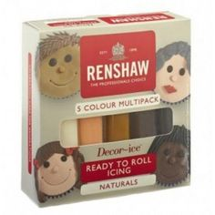 Renshaw 5 NATURALS COLOUR multipack Regalice Decor-Ice sugarpaste ready to roll icing - Renshaw from Cake Stuff UK