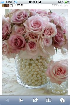 Glass vase with pearls and pink roses !!   PERFECT centerpieces <3