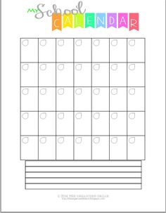 #Free blank #School #Printables are great for every month! Fill it in and get organized! http://theorganizeddream.com
