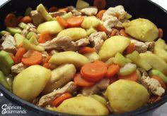 Emincés de poulet aux pommes et petits légumes