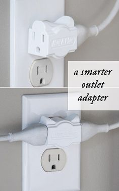 Connects electrical cords parallel to outlet surfaces. Eliminates bending, crimping, and damage to cords and reduces the risk of electrical shocks and fires.