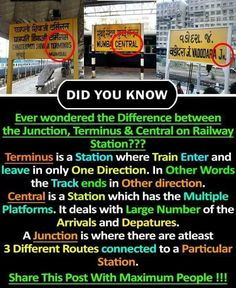Difference between central,junction and terminus