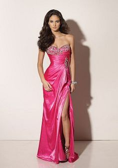 Sweetheart Sheath/ Column Elastic Silk Like Satin Empire Floor Length With Beading Evening Dress - Angeldress.co.uk