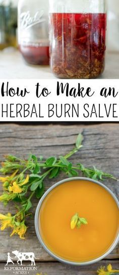 Herbal Medicine How to Make an Herbal Burn Salve - Learn which herbs to use in a simple burn salve that will relieve the pain and restore your skin to its former beauty fast after a minor burn. Cold Home Remedies, Natural Health Remedies, Herbal Remedies, Holistic Remedies, Healing Herbs, Natural Healing, Natural Medicine, Herbal Medicine, Medicine Garden