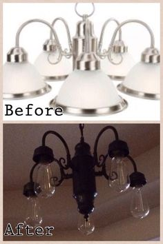 DIY lighting update- All you need is a can of spray paint. This was our kitchen light fixture that was over our table. My husband spray painted it, removed the glass shades, and added Edison bulbs. It is now our entry chandelier!: