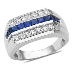 Men's 3/8CT Diamond and Sapphire Ring 14k White Gold with Cage Back