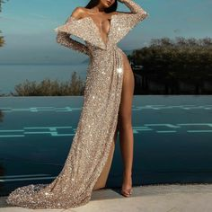 Glam Dresses, Event Dresses, Cute Dresses, Beautiful Dresses, Long Skirt Fashion, High Fashion Dresses, Prom Outfits, Look Fashion, Party Fashion