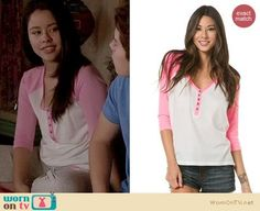 Mariana's pink henley baseball sleeve tee on The Fosters.  Outfit Details: https://wornontv.net/17320/ #TheFosters