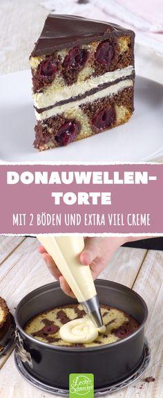 German cake classic reinvented twice ingeniously-Deutscher Kuchen-Klassiker doppelt genial neu erfunden Danube wave cake. With 2 shelves and extra cream. Torte Au Chocolat, German Cake, Flaky Pastry, Cherry Cake, Mince Pies, Cinnamon Cream Cheese Frosting, Pumpkin Spice Cupcakes, Vanilla Buttercream, Vanilla Cake