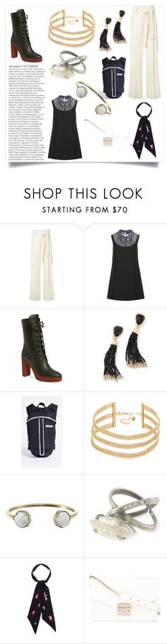 """Alexander dress"" by ramakumari ❤ liked on Polyvore featuring Derek Lam, Miu Miu, Tod's, Kendra Scott, Vanessa Mooney, Rockins and Furla"