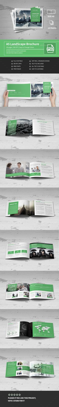 A5 Corporate Business Landscape Brochure Template PSD #design Download: http://graphicriver.net/item/a5-corporate-business-landscape-brochure/14231032?ref=ksioks