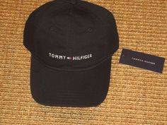 TOMMY HILFIGER MEN'S BASEBALL CAP BLACK SIGNATURE FLAG LOGO  SPORT CLASSIC NEW #TommyHilfiger #BaseballCap