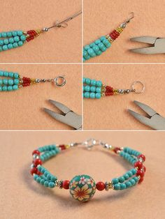 Pandahall Free Tutorial - How to Make a Charming Multi-strand Beaded Ethnic Bracelet (8)