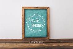 Hello Spring, Home Decoration, Easter Decor, Chalkboard Decor, Spring Print, Floral Decoration, Wall Art, Welcome Spring by instantcreativity on Etsy