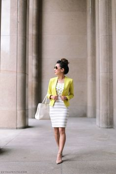 business casual summer outfit petites blazer pencil skirt