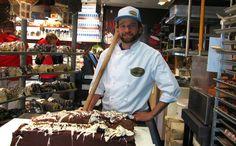 sweet gig Chocolatier Scott Grieve prepares two new logs of fudge at the Rocky Mountain Chocolate Factory. Chef's Choice, Chocolate Factory, Logs, Fudge, Mountain, Baking, Sweet, Candy, Bakken