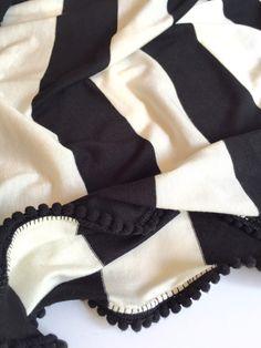 Baby Blanket / Swaddle Blanket / Black and White Wide Stripe Jersey Pom Pom /Blanket  / / Newborn Blanket / Newborn Baby Blanket / cotton by CharleyCharlesShop on Etsy https://www.etsy.com/listing/232481339/baby-blanket-swaddle-blanket-black-and