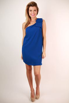 Say You Will Bow Dress in Royal Blue