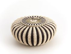 Jeremy Frey, a Passamaquoddy basket weaver from Maine.  Point Urchin basket , sweet grass and brown ash.