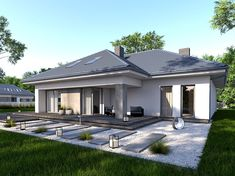 DOM.PL™ - Projekt domu DPS Torino CE - DOM DPS1-43 - gotowy koszt budowy House Layout Plans, House Layouts, House Plans, Bungalow, Modern Front Yard, Home Fashion, House Colors, Planer, Future House