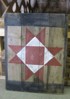 primitive barn quilt painted on an 1870's grain by littleshop86, $100.00