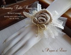 Country Tulle Burlap Rose Wrist Corsage ties on with by PapernLace