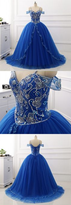A-line Bateau Floor-length Tulle Prom Dress/Evening Dress 2018 New Ball Gown Quinceanera Dresses Tulle Sweet Princess Dresses Sequins Beaded Sweep Train Prom Dress #longpromdress #eveningdress #promdress #promgown #weddingdress #blue