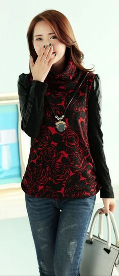 Embroidered Flower Top with PU and Lace Sleeve YRB0632