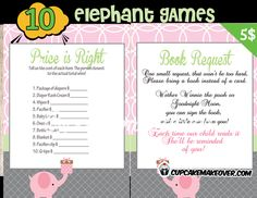 A collection of Pink Elephantbaby shower games that your guests will enjoy playing. Get them in on the baby's excitement and soon they'll be laughing and sharing stories! DIY printable fun games. #cupcakemakeover