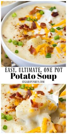 This Fall soup recipe is creamy and comforting and is an easy one pot soup recipe! An easy dinner recipe for families that everyone will love! Healthy Potato Soup, Homemade Potato Soup, Best Potato Soup, Healthy Potatoes, Loaded Potato Soup Recipe Easy, Easy Crockpot Potato Soup, Loaded Baked Potatoes, Patato Soup Recipe, Soups