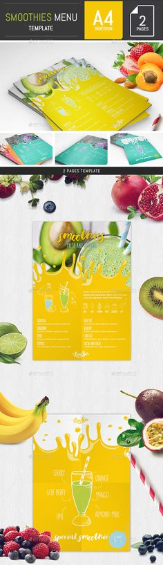 Buy Smoothies Menu Template by DogmaDesign on GraphicRiver. Creative and stylish, this Smoothies Menu Template is perfect for smoothies, milkshakes and juice shop, cafe, cafeter. Bakery Menu, Restaurant Menu Design, Cafe Menu, Smoothie Menu, Smoothies, Juice Menu, Mexican Menu, Italian Menu, Menu Printing