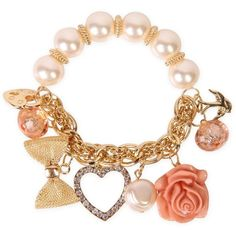 pearl chain bracelet with peach colored charms ($8.62) ❤ liked on Polyvore