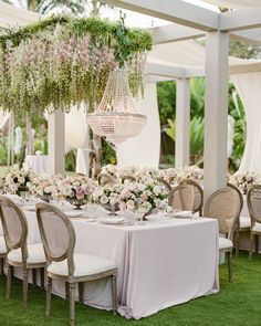 Even if you're having an al fresco reception without a ceiling, there are still great ways to incorporate elegant hanging décor. Edgy Wedding, Tulip Wedding, Wedding Flowers, Wedding Ideas, Luxury Wedding, Mauve Wedding, Wedding Inspiration, Fall Wedding, Pastel Colour Palette