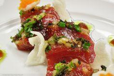 Ahi Tuna, Spicy Tuna Crust, Rice Chips, Masago, Nori, Gelatinized Soy Wasabi Oil