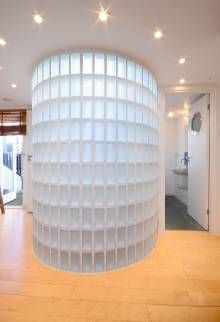 Spiral stair with glass block wall